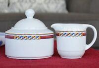ESCHENBACH Creamer & Sugar Bowl & Lid Porzellan Porcelain Rope Geometric Germany
