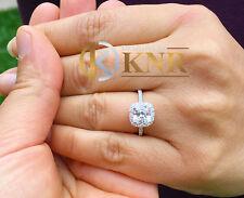 14k White Gold Cushion Forever One Moissanite Diamonds Engagement Ring 2.25ctw