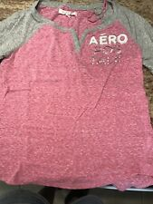 Juniors Girls Aeropostale Pink Gray V Neck Shirt-S/P- Euc! Cute!