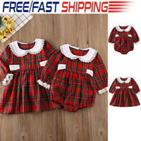 Infant Baby Girls Christmas Outfit Xmas Party Plaid Romper Tutu Dress Clothes