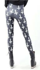Womens Girls Fashion Galaxy Cross Leggings New Small Rock Chick Punk Gothic Goth