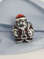 Authentic Pandora Silver Santa Christmas Charm with Enamel 791231ENMX Retired