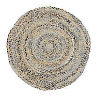 ⭐ Round 90cm Denim and Jute Blue Braided Stripe Area Rug Lounge Shabby Chic Fair