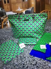 Vera Bradley Tote and Matching Wallet, Scarf Emerald Diamonds  NWT. WITH BONUS!