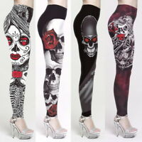 Womens Halloween Skinny Leggings Horror Taro Print Trousers Long Pants Plus size