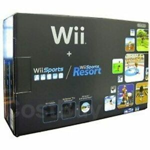 Nintendo Wii Console Black With Wii Sports And Wii Sports Resort Very Good 9Z