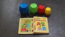 2 Jeux d'EVEIL, livre en bois + cubes empilables de 1 an à 3 Ans