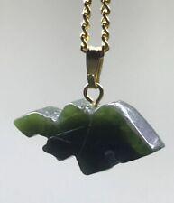 Vintage Green Jade Pendant & 18� Gold Tone Necklace Pangolin AntEater Elephant ?