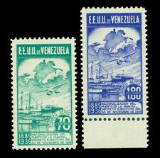 VENEZUELA 1937 AIRMAIL Port LaGuaira Nacionalization - UNISSUED Sc#C64-65var MNH