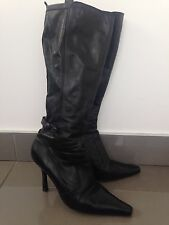 FAITH BLACK LEATHER KNEE HIGH BOOTS UK 7 EU 40 LADIES WOMENS