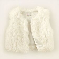 euc TCP Childrens Place FAUX FUR VEST Biscuit Off White Ivory Silk Girls M 7 8
