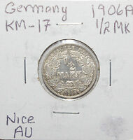 Germany, Empire 1/2 Mark, 1906 A 0.90 Silver AU High Value - Sale Price