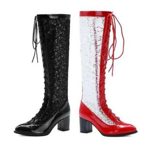 Gladiator Women Knight Pointy Toe Block Heel Knee High Boots Outdoor 46 47 48 L
