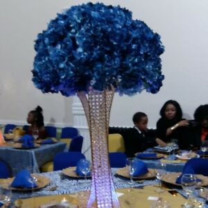 wedding flower centerpieces, GOLD beaded centrepiece vase for hire 50 available