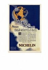 VINTAGE 1925 MICHELIN MAN HOT AIR BALLOON COMFORT CORDS TIRES EARTH AD PRINT