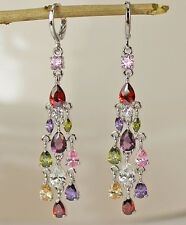 18K White Gold Filled - 2.6'' Waterdrop Amethyst Morganite Party Women Earrings