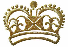 "#2401 3-1/4"" Embroidery Iron On Gold Royal Crown Applique Patch"