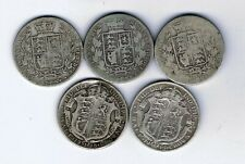 More details for 5 different silver half crown coins - 67.7g : 1874  - 1918