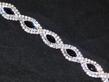 Jet Black Marquise & Clear Round Rhinestone Crystal Party Silver Bracelet