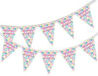 Happy Easter - Eggs - Bunting Banner 15 flags by PARTY DECOR