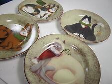 Sakura Fiddlestix Christmas Cats Salad Plates Set of 4 and Storage Box