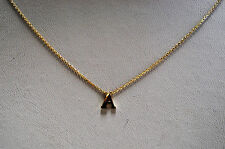 14K SOLID YELLOW GOLD INITIAL NECKALCE ON 14K CABLE CHAIN - LETTER A