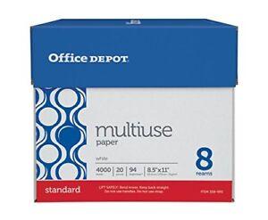 Office Depot Copy Paper 20 lb 94 Bright Letter Size 8 Ream Case 4000 Sheets