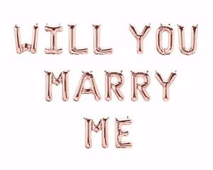 """NEW ROSE GOLD 16"""" Letter Foil Balloons 'WILL YOU MARRY ME'"""