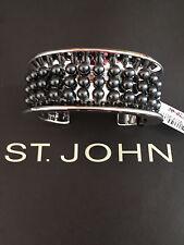 NEW ST JOHN KNIT WOMENS BRACELET DESIGNER SILVER COLOR CUFF
