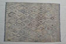 9'6 x 7'1 Gray Handwoven Afghan Tribal Kilim Area Rug Wool Kelim Carpet #8593