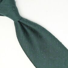 Manolo Costa Mens Shantung Silk Necktie Green Blue Pindot Pin Dot Tie Italy