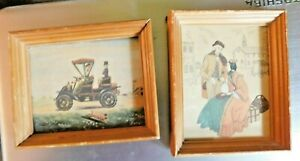 PAIR OF VINTAGE 1950's MID CENTURY FRAMED PRINTS 5.75 by 4.75 inches