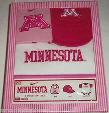 Minnesota Pink Hat Bib One Outfit Baby Girl Gift Box College NCAA Team Nike