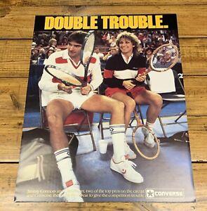 Original 1984 Converse Shoes Tennis' Jimmy Connors Chris Evert Promo Poster NOS
