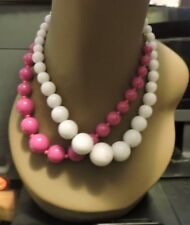 """2 Beaded Necklaces (Pink/White, 8"""" Length)"""