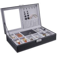 Uhrenbox Uhrenkoffer für 8 Uhren Uhrentruhe Uhrenkasten Uhrenschatulle Leder