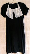 New listing Vtg 1940's Black Rayon Crepe Dress Wiggle Pinup Goth Fit Flare Small Rockabilly