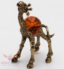 Solid Brass Amber Figurine of Happy Giraffe Totem talisman IronWork