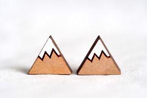 Mt Fuji Snow Mountain Earrings Studs - Wooden Mini Colourful Earrings