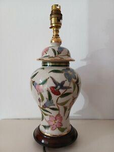 Rochamp Ceramic Table Lamp Oriental Handpainted Pattern 34.5cm Height