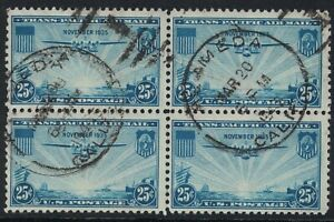 Scott C20- Used Block of 4- 25c China Clipper, Trans Pacific Airmail, 1935