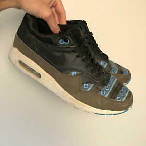Nike Air Max 1 Trainers Aztec Decals Black Gold Blue UK 11