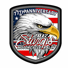 2017 STURGIS RALLY 77th Anniversary Eagle Flag Shield BIKER PATCH
