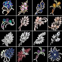 Large Sliver Rhinestone Glass Flower Bridal Brooch Pin Wedding Bouquet Jewelry