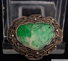 China 20. Jh. - A Chinese Export Silver & Jadeite Brooch - Giada Cinese Chinois