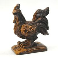 """3.3"""" Rooster Cock Figurine Yellow Tiger Eye Quartz Crystal Stone Carving Decor"""
