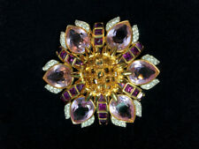 Amethyst and Topaz-toned Flower Burst Pin/Brooch