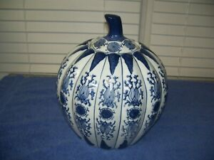 """Vintage Large Blue & White China Porcelain Pumpkin Shaped Lidded Vase 12"""""""