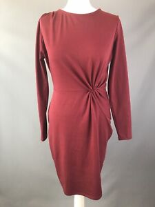 Next Dress Size 12 Berry Red Stretchy Dress Gathered Waist Long Sleeved