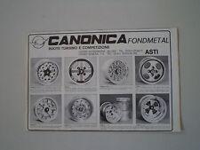 advertising Pubblicità 1982 RUOTE CERCHI CANONICA FONDMETAL - ASTI